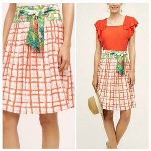 6 Anthropologie Red White Plaid Floral Skirt